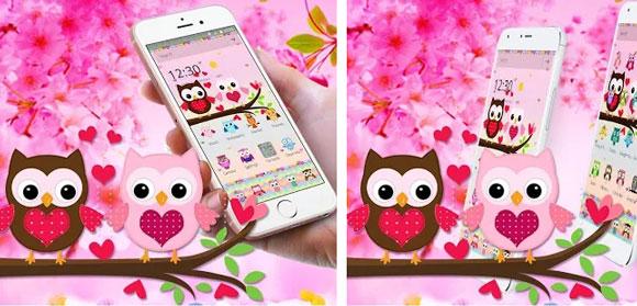 Pink Lovely Owl Cartoon Theme