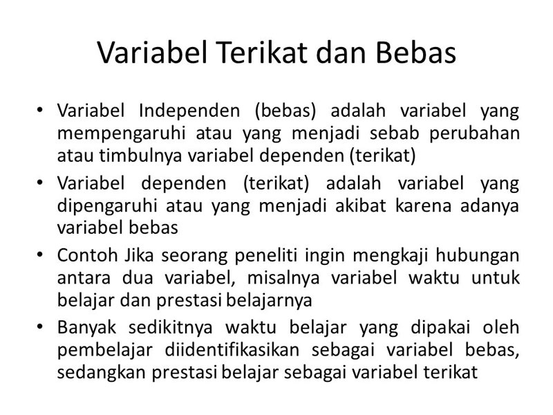 Perbedaan Variabel Bebas dan Terikat