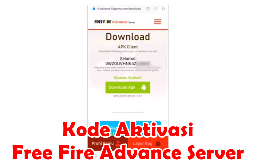 Kode Aktivasi Free Fire Advance Server Untuk Yang Belum Dapat